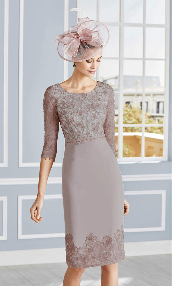 4G279 Taupe Couture Club Dress & Jacket With Lace Sleeves - Fab Frocks