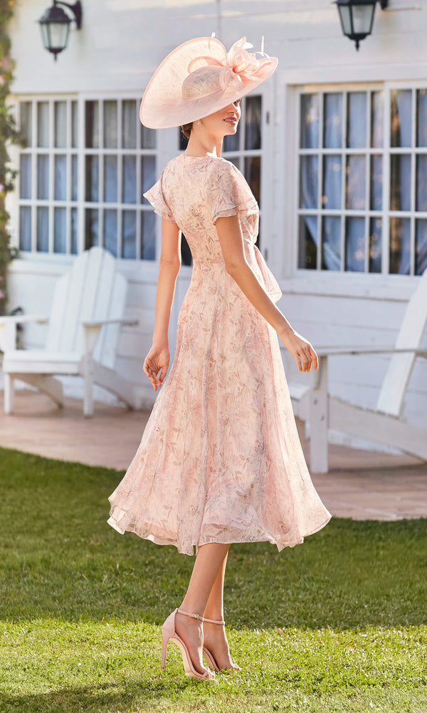 Couture Club 5G108 Shell Pink Floaty Chiffon Occasion Dress - Fab Frocks