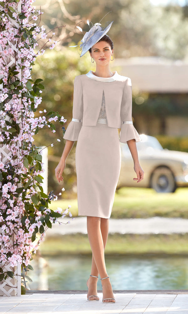 Couture Club 5G248 Taupe Beige Dress & Reverse Jacket - Fab Frocks