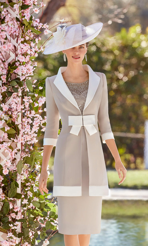 Couture Club 5G252 Taupe Ivory Dress & Frock Coat - Fab Frocks
