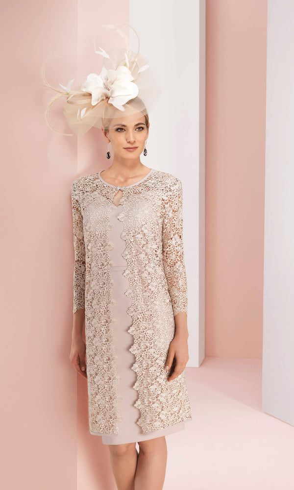 2G264 Nude Couture Club Dress With Lace Frock Coat - Fab Frocks