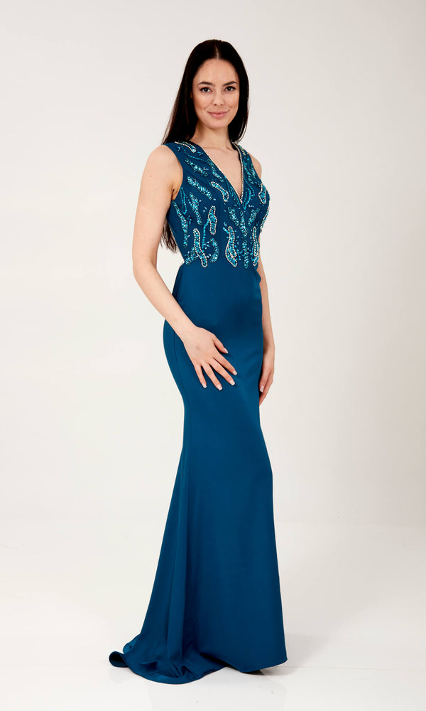 Abbie Blue Crystal Breeze Evening Or Prom Dress - Fab Frocks
