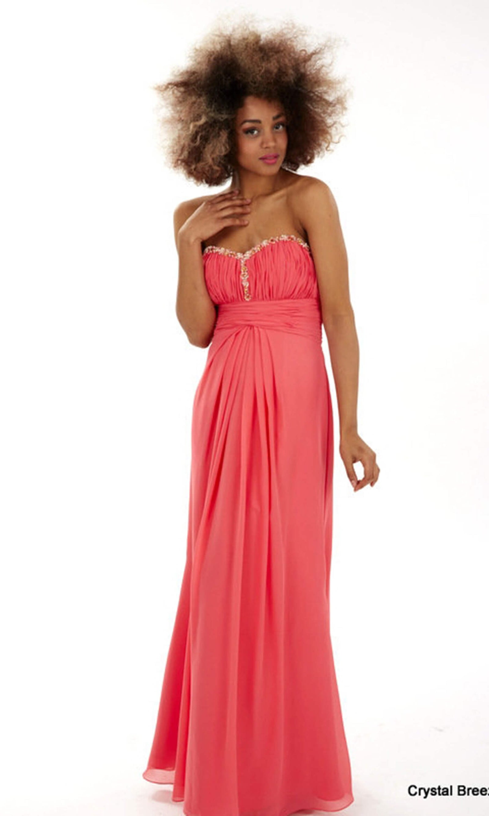 Rosa Watermelon Crystal Breeze Dress With Ruched Bodice