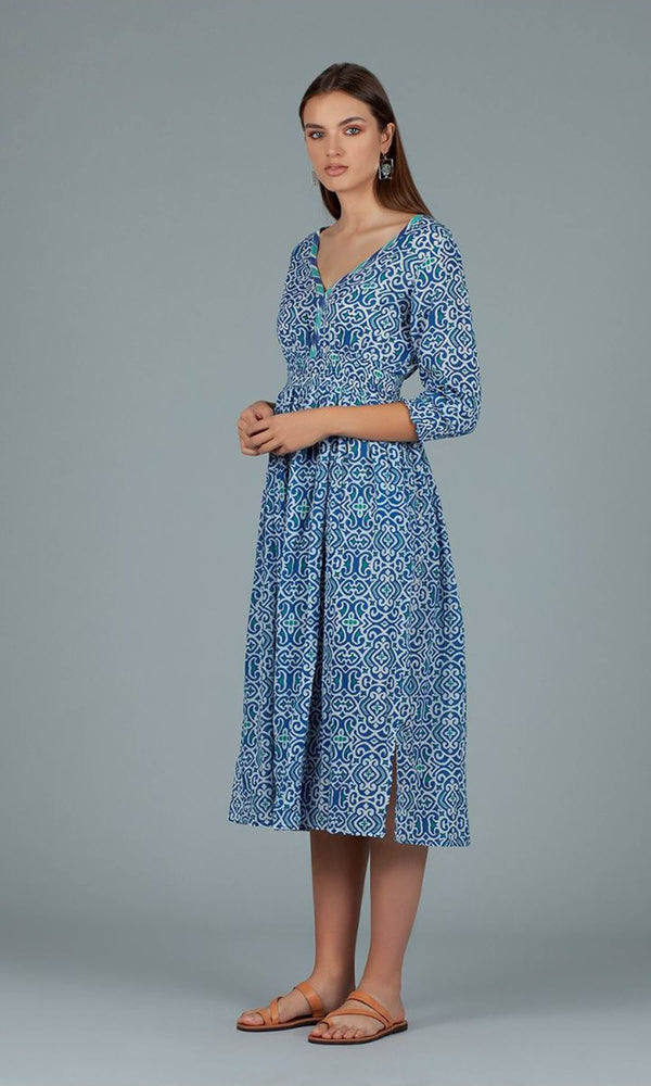 Dream Fashions AN284A Roma Dress Lama Blue - Fab Frocks