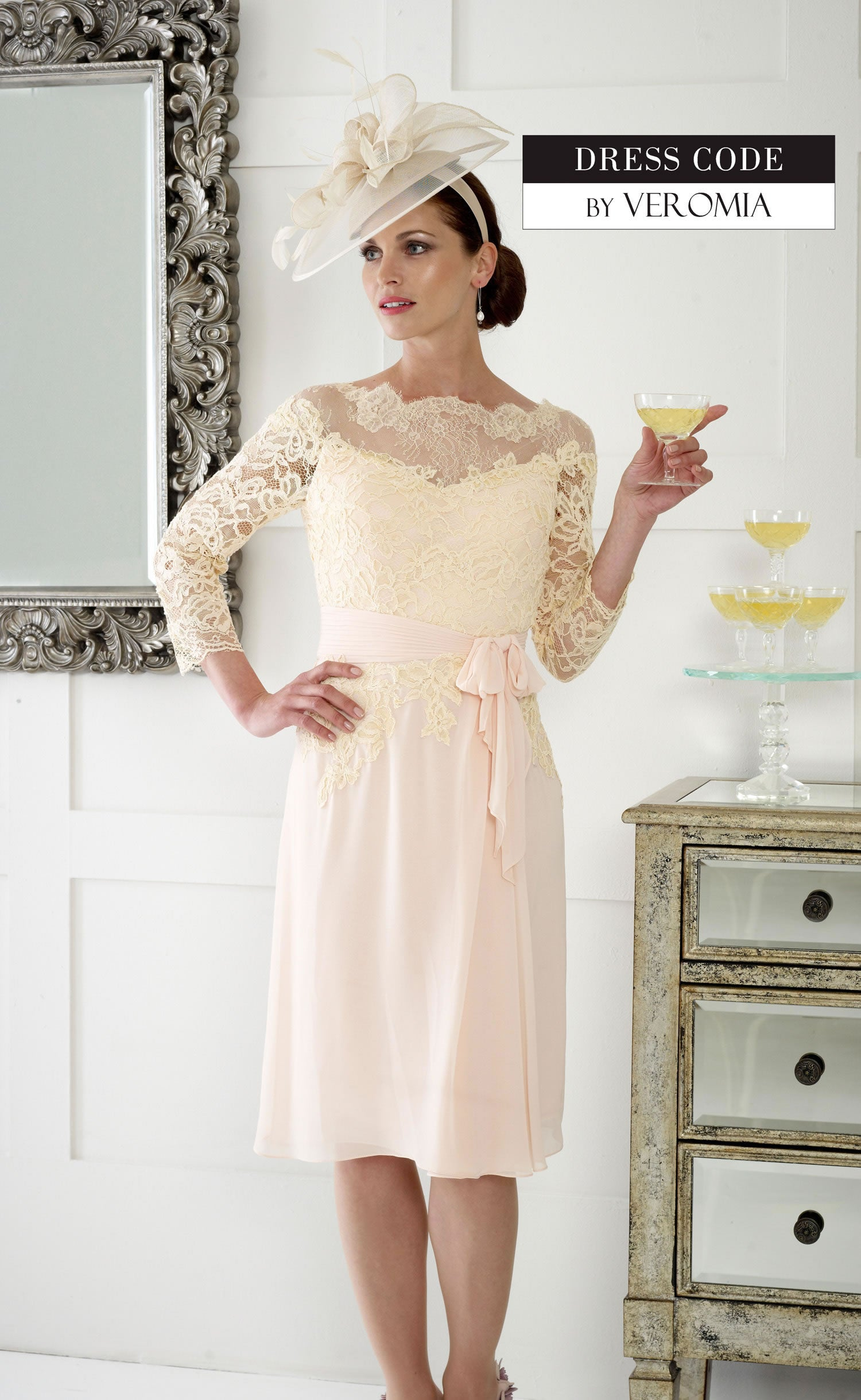 DC192E Apricot Dress Code Dress With Lace Sleeves - Fab Frocks
