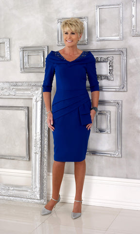 DC107D Cobalt Blue Dress Code Occasion Dress With Sleeves - Fab Frocks