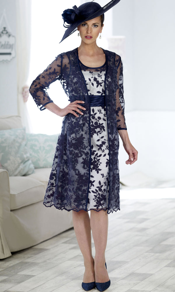 DC250 Ivory Navy Dress Code Dress With Sheer Coat - Fab Frocks