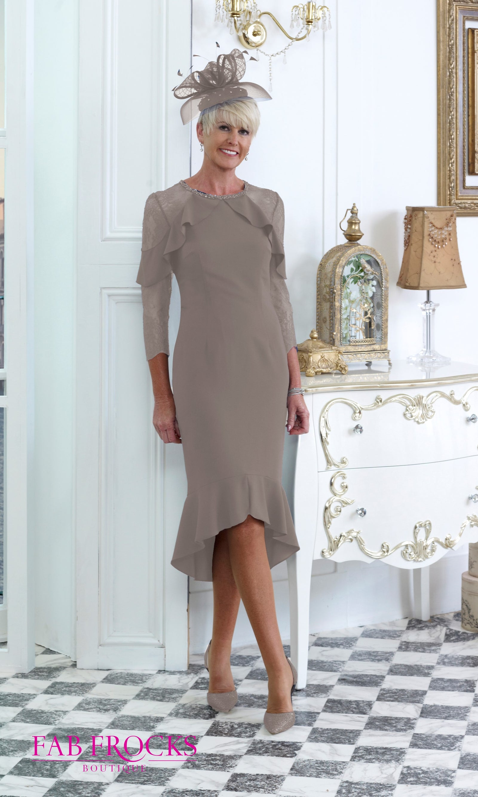 DC289E Mink Dress Code Hi-Lo Dress With Lace Sleeves