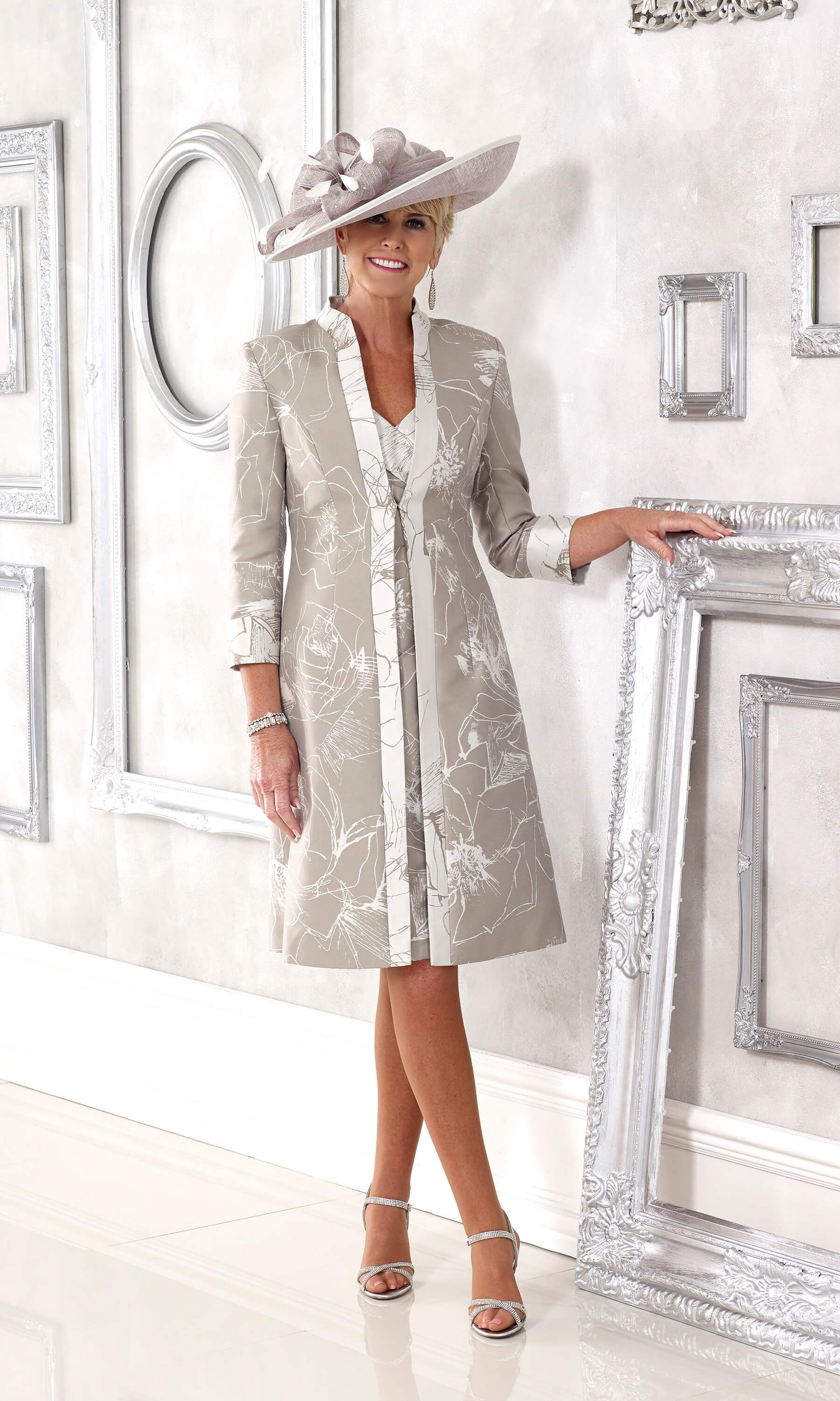 DC398 Taupe Dress Code Patterned Dress & Frock Coat