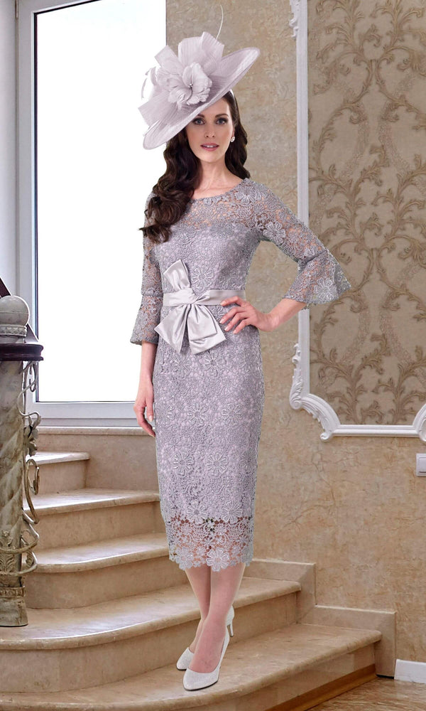 DC434 Silver Dress Code Veromia Lace Occasion Dress - Fab Frocks