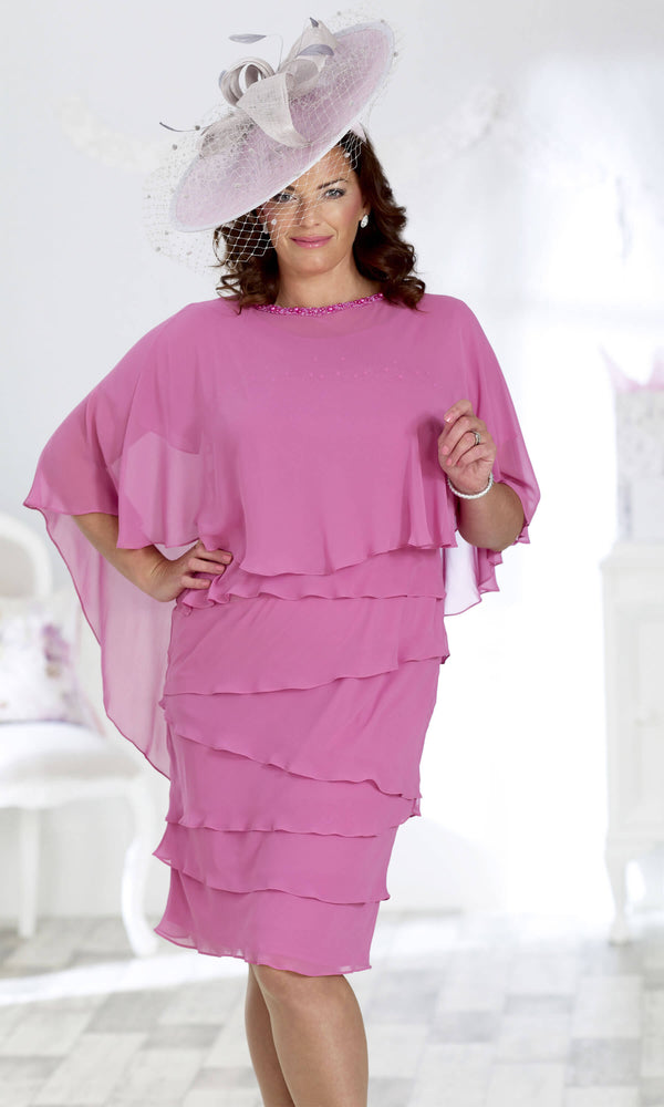 DU182 Peony Dressed Up Chiffon Floaty Dress With Cape - Fab Frocks