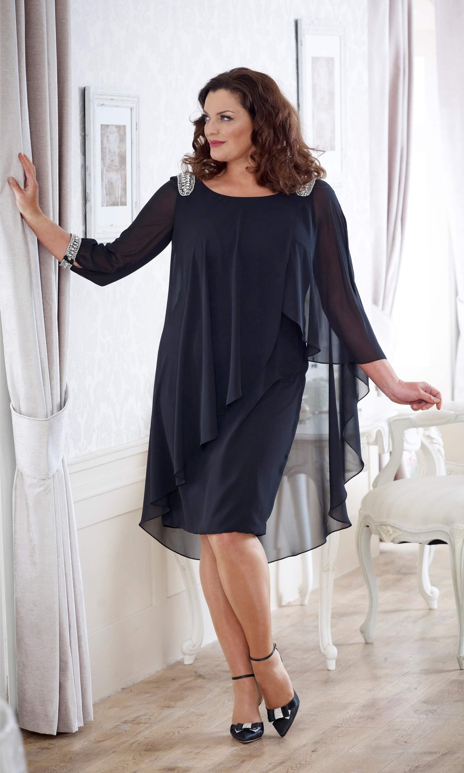 DU217 Navy Dressed Up Plus Size Chiffon Occasion Dress