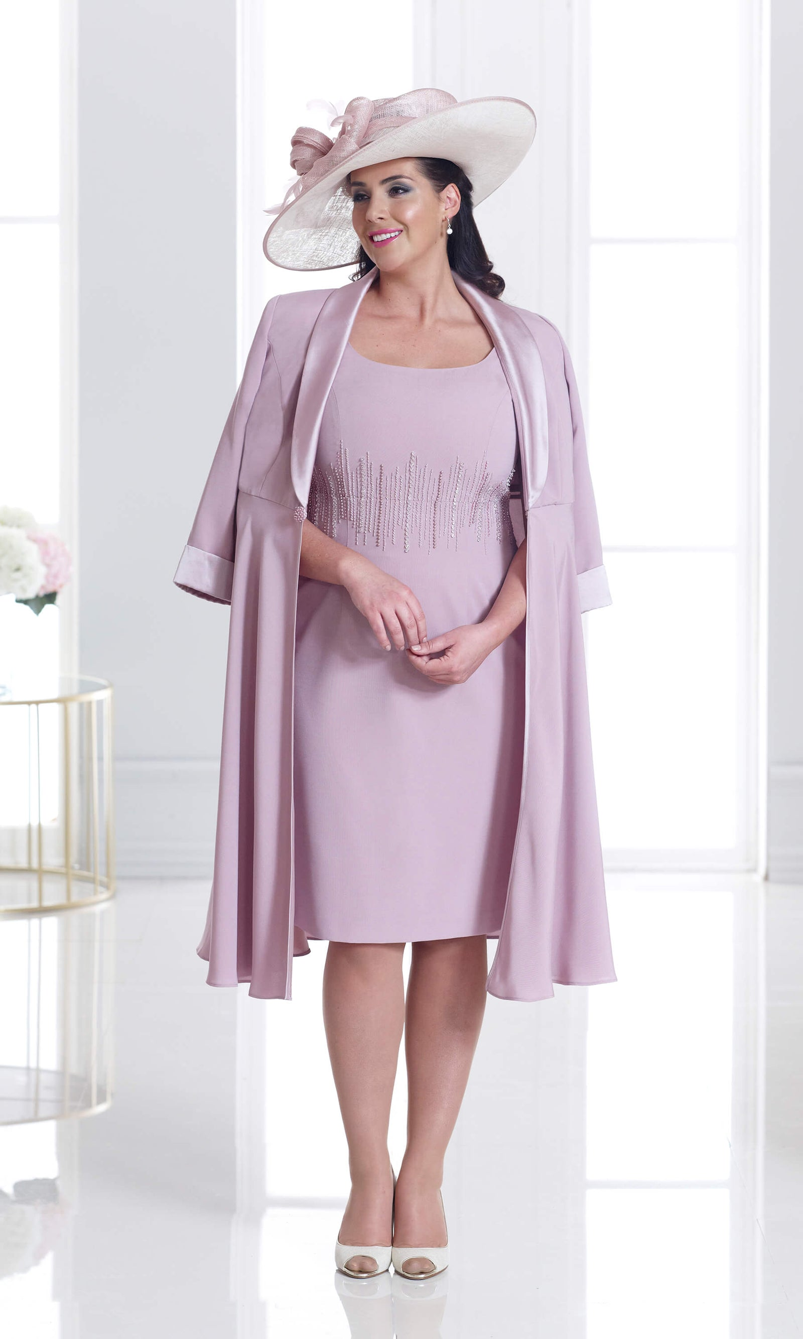 DU250 Dusky Pink Dressed Up Dress & Swing Coat - Fab Frocks