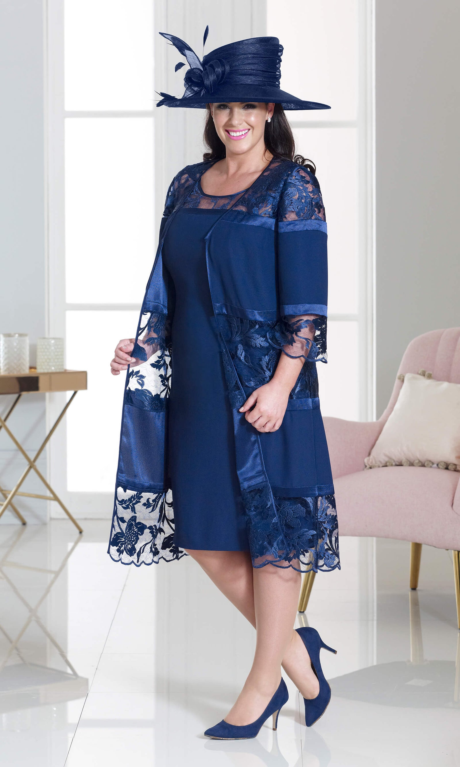 DU264 Navy Dressed Up Dress With Lace Frock Coat