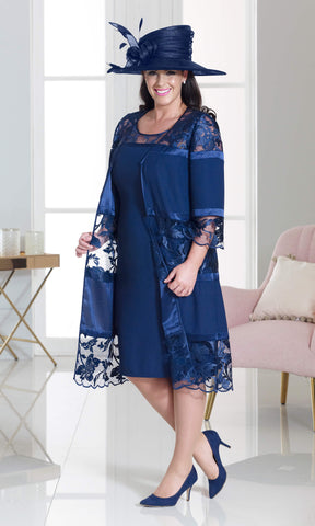 DU264 Navy Dressed Up Dress With Lace Frock Coat - Fab Frocks