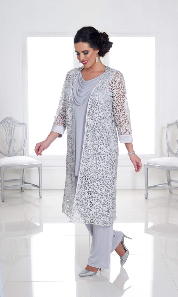 DU325 Silver Grey Dressed Up Trouser Suit & Long Coat - Fab Frocks