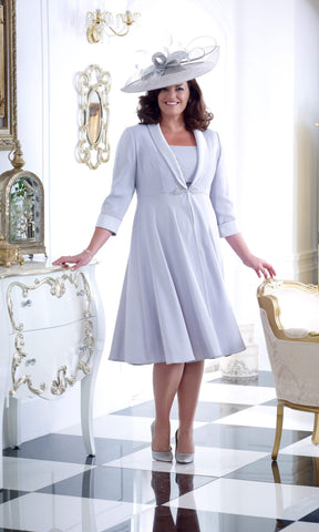 DU235 Silver Fox Dressed Up Dress And Swing Coat - Fab Frocks