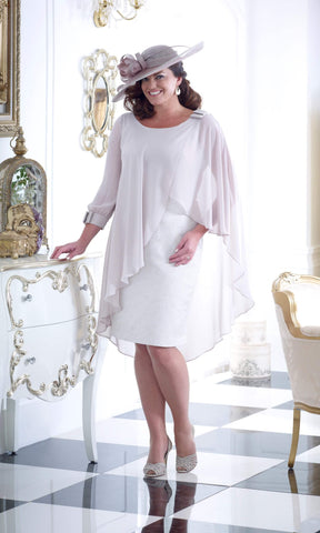 DU243 Pale Gold Dressed Up Occasion Dress With Cape - Fab Frocks