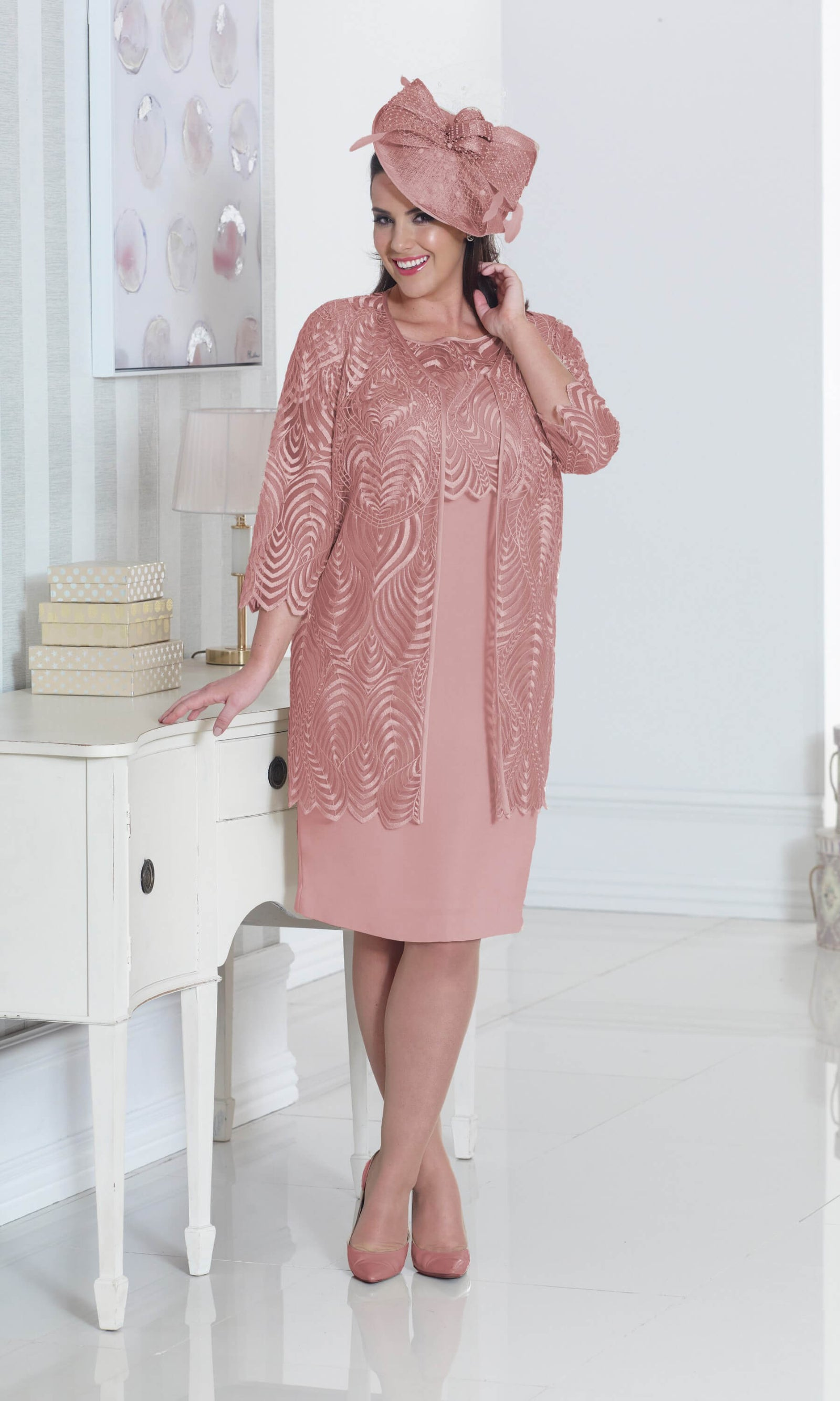 DU262 Dusty Pink Dressed Up Dress With Long Jacket