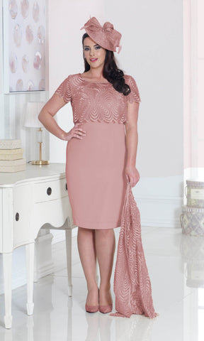 DU262 Dusty Pink Dressed Up Dress With Long Jacket - Fab Frocks