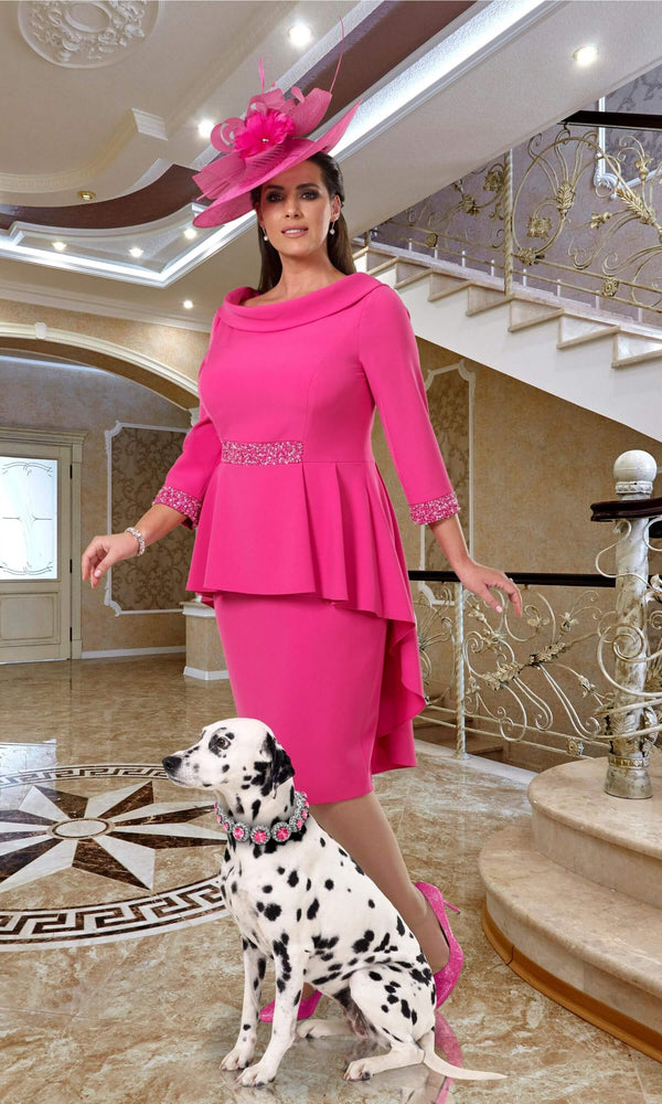 DU381 Hot Pink Dressed Up Veromia Peplum Dress - Fab Frocks