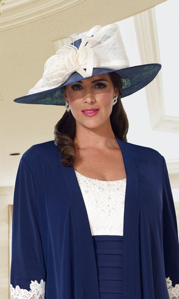VH19086 Navy Ivory Veromia Dressed Up Hat - Fab Frocks