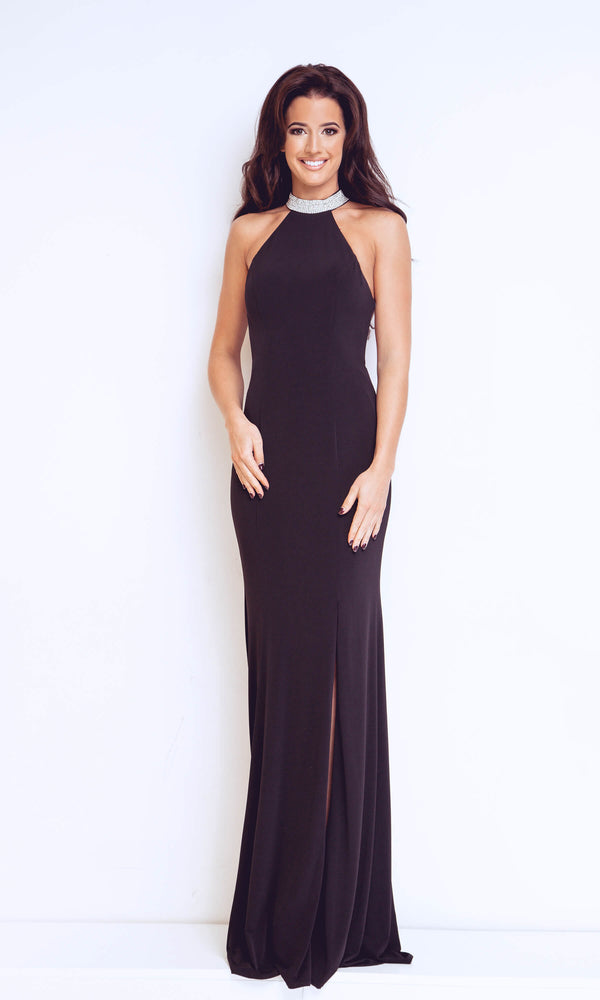 1013127 Black Dynasty Backless Diamante Collar Long Dress