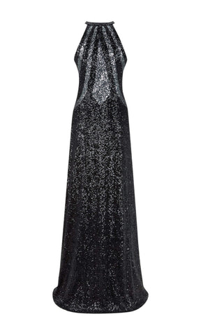1012721 Black Gunmetal Dynasty High Neck Sequin Dress - Fab Frocks
