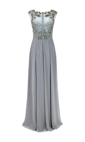 1012725 Stone Dynasty Evening Dress With Net Back