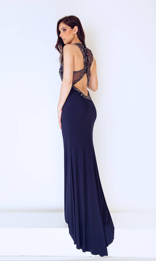 1012730 Navy Dynasty Low Back Evening Prom Dress - Fab Frocks