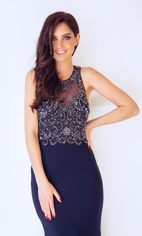 1012730 Navy Dynasty Low Back Evening Prom Dress