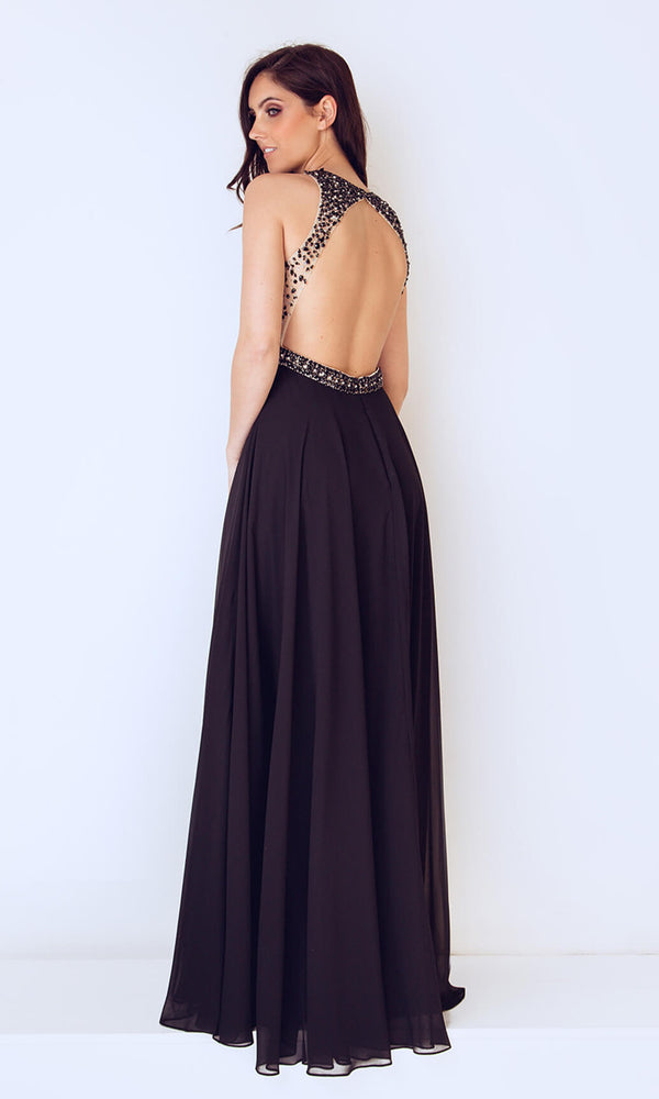 1013237 Black Dynasty High Neck Low Back Dress - Fab Frocks