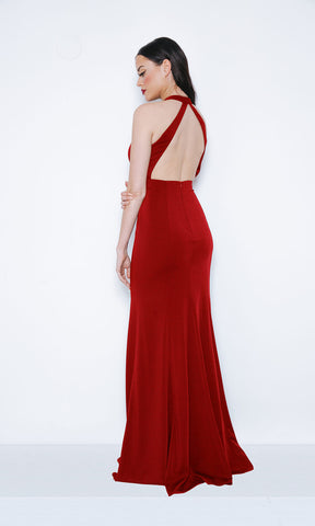 1013402 Red Dynasty Open Back Evening Prom Dress - Fab Frocks