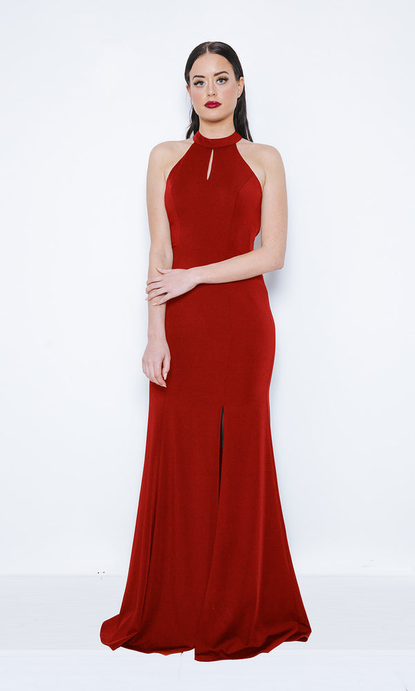 1013402 Red Dynasty Open Back Evening Prom Dress