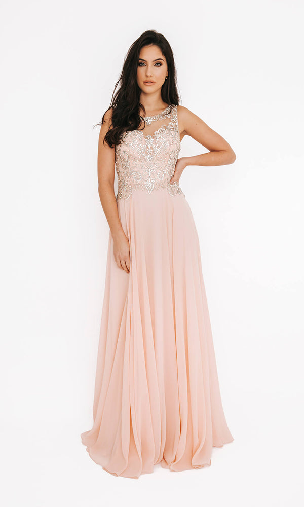 Dynasty London 1013601 Peach Open Back Evening Prom Dress