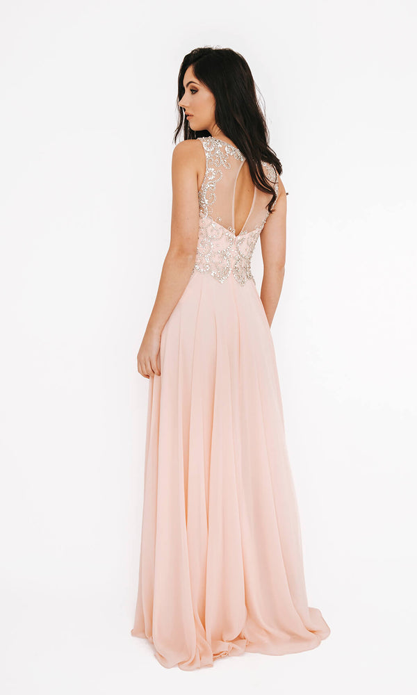 Dynasty London 1013601 Peach Open Back Evening Prom Dress Back