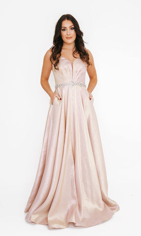 Dynasty London 1013603 Peony Pink Shimmer Ballgown With Pockets