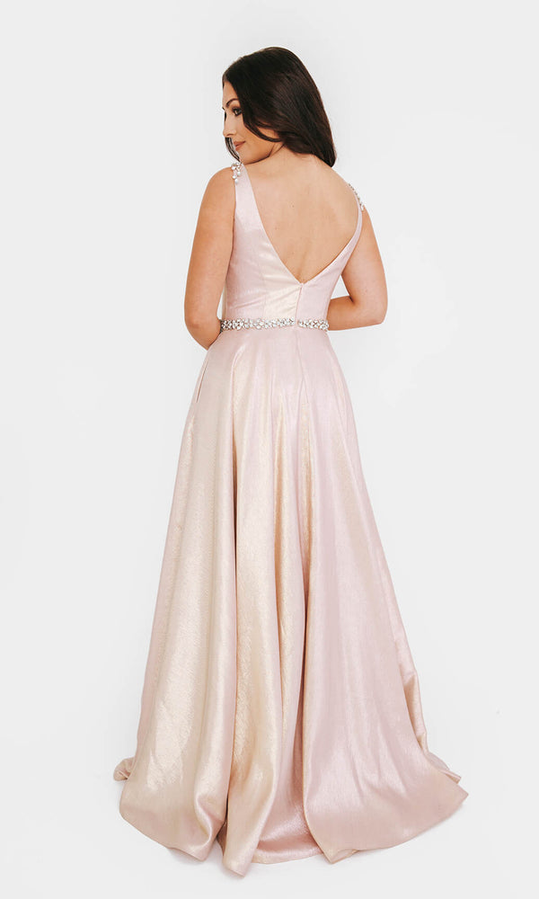 1013603 Peony Pink Dynasty Shimmer Ballgown With Pockets - Fab Frocks