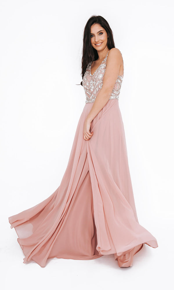 Dynasty London 1013607 Peony Pink Crystal Evening Prom Dress