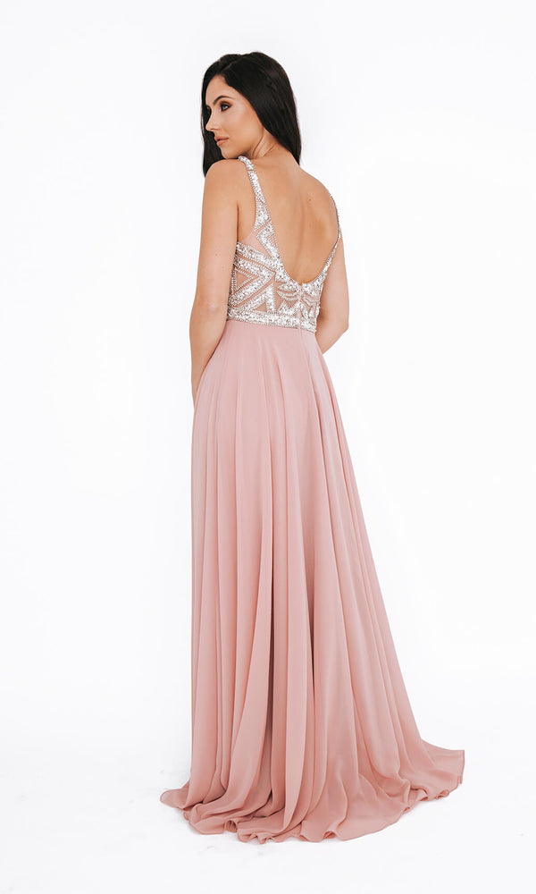 Dynasty London 1013607 Peony Pink Crystal Evening Prom Dress Back