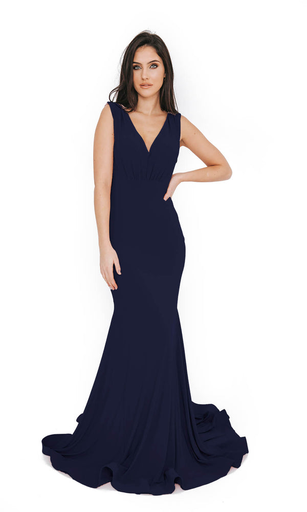 Dynasty London 1013609 Navy Low Back Plain Evening Prom Dress