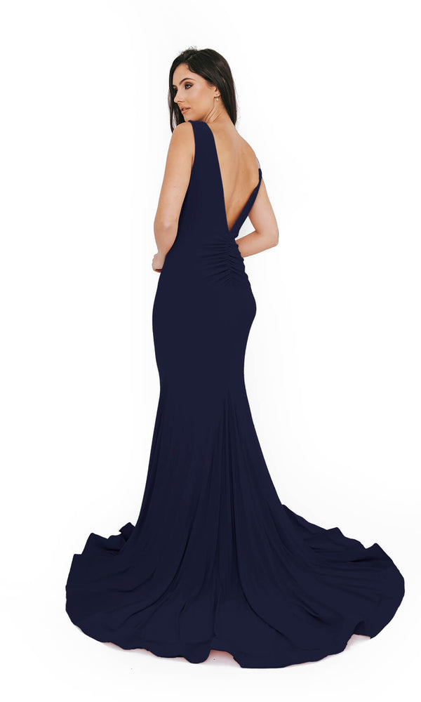 1013609 Navy Dynasty Low Back Plain Evening Prom Dress - Fab Frocks
