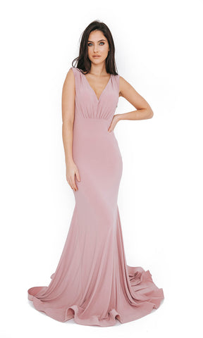 Dynasty London 1013609 Peony Plain Low Back Evening Prom Dress
