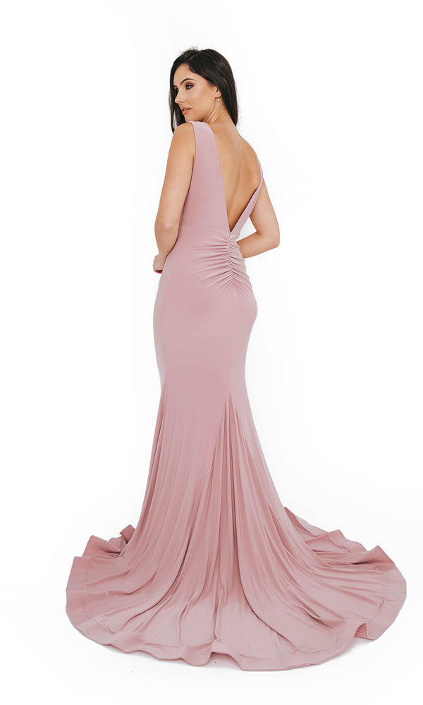 1013609 Peony Dynasty Plain Low Back Evening Prom Dress - Fab Frocks