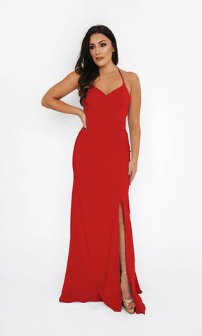 Dynasty London 1013611 Red Open Back Evening Prom Dress Front