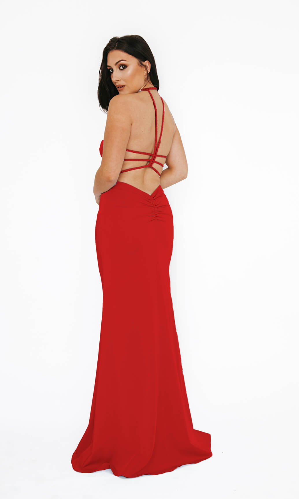 Dynasty London 1013611 Red Open Back Evening Prom Dress