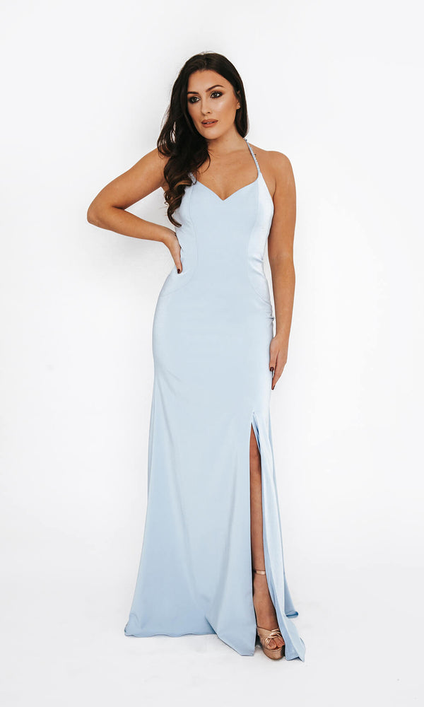 Dynasty London 1013611 Ice Blue Low Back Evening Prom Dress