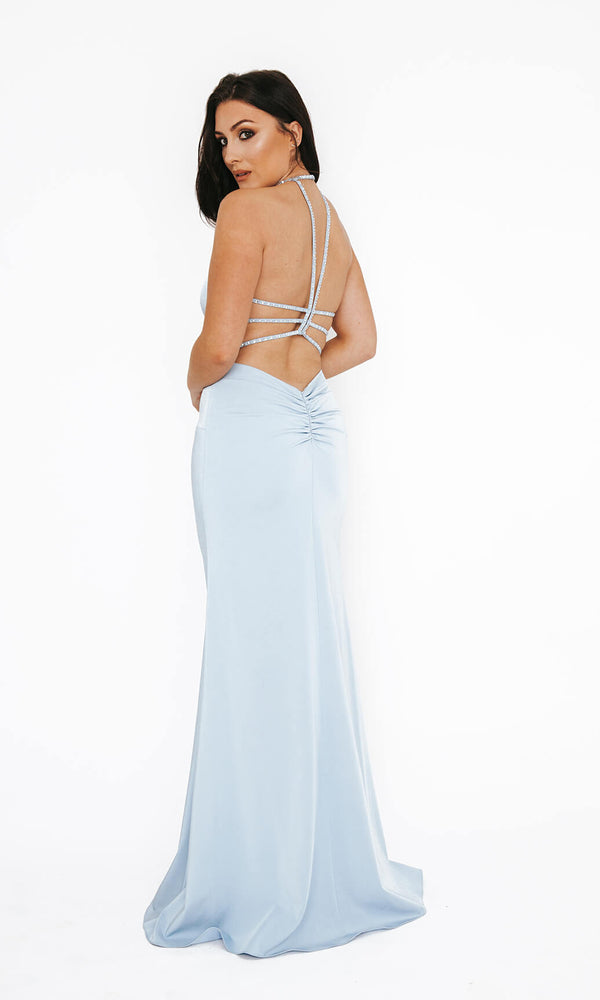 Dynasty London 1013611 Ice Blue Low Back Evening Prom Dress Back