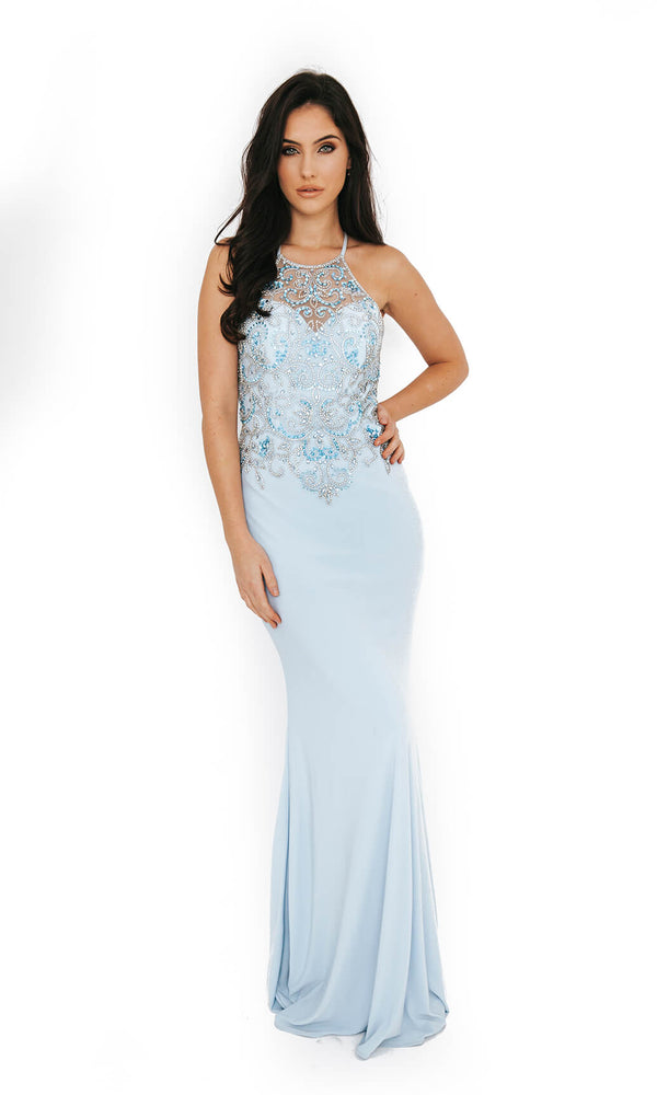 Dynasty London 1013612 Ice Blue Low Back High Neck Evening Gown