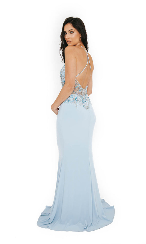 Dynasty London 1013612 Ice Blue Low Back High Neck Evening Gown Back